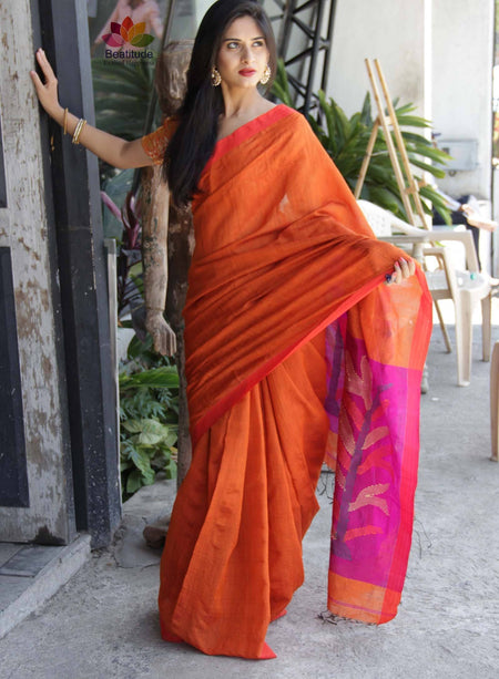 COTTON BLENDED HANDLOOM SAREE-Sarees-Beatitude Label