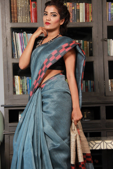 Handwoven Silk Linen Ikat Border Saree-SALE-Vemaka