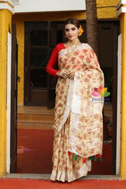 Floral Handwoven Printed Linen Saree-October Collection-Beatitude Label