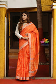 Orange Shade Banarasi Linen Handwoven Saree