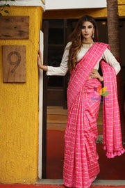 Pink Handwoven Kota Silk Saree