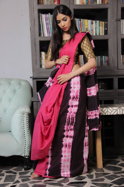 Shibori Cotton Saree-Sarees-Beatitude Label