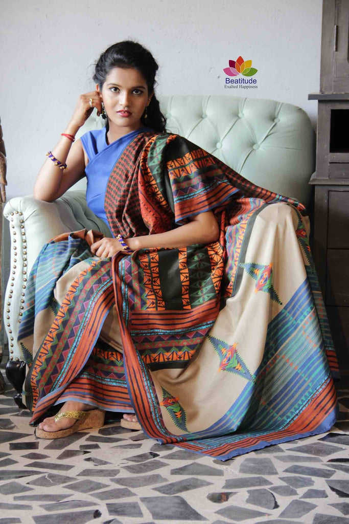 Printed Khadi Silk Saree