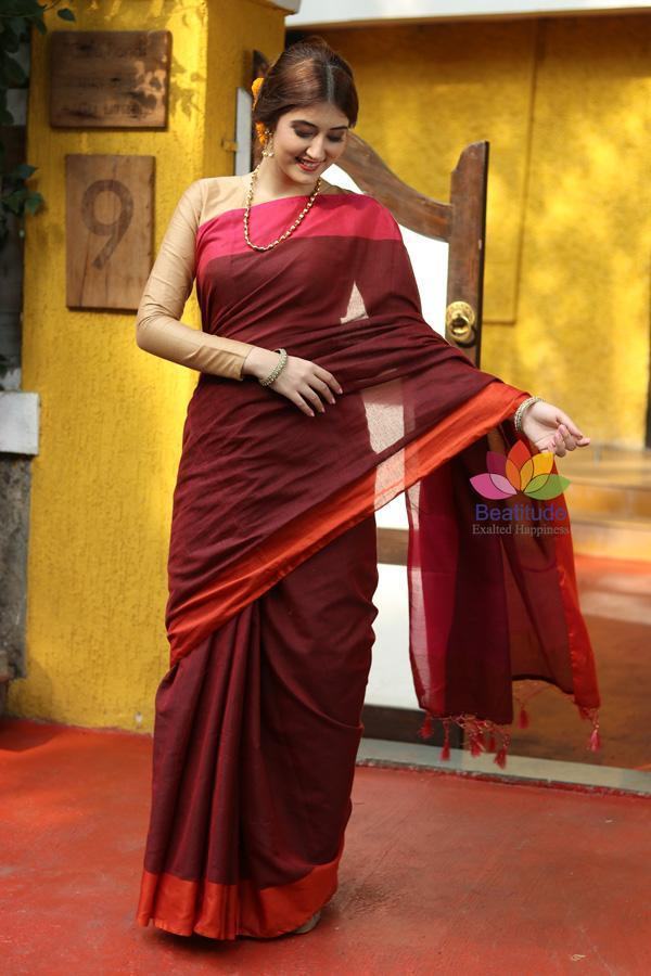 Maroon Shade Khadi Cotton Handwoven Saree