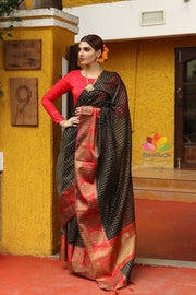 Black Shade Cotton Banarasi Handwoven Saree-October Collection-Beatitude Label