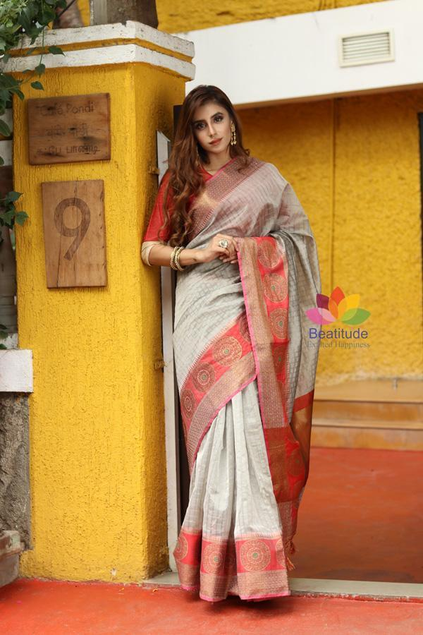 Grey Shade Cotton Banarasi Handwoven Saree-October Collection-Beatitude Label