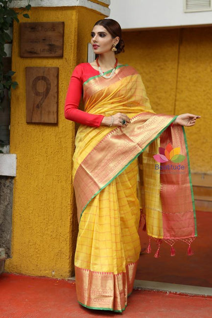 Yellow Shade Cotton Banarasi Handwoven Saree