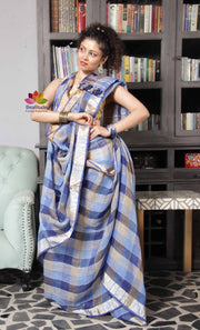 Handwoven Checks Linen Saree-SALE-Beatitude Label