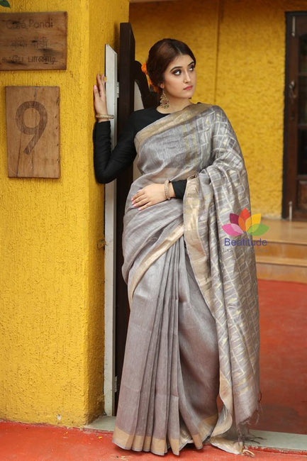 Silver Grey Shade Handwoven Silk Linen Saree