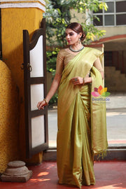 Green Shade Handwoven Muga Tussar Silk Saree-October Collection-Beatitude Label
