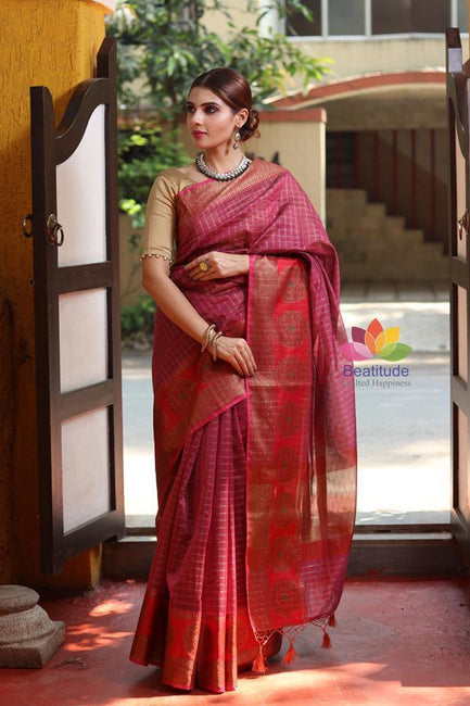 Wine Shade Cotton Banarasi Handwoven Saree