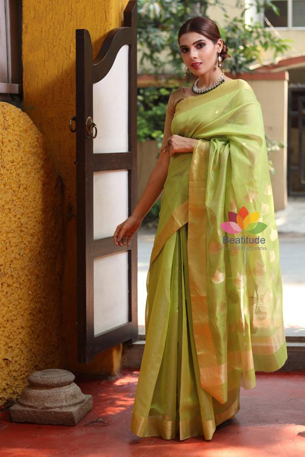 Green Shade Handwoven Chanderi Silk Saree-October Collection-Beatitude Label