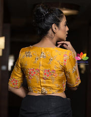 Yellow Jute and Georgette Moti Work Half Sleeve Blouse