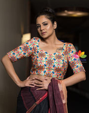 Multicolor Silk Kathiyawadi Embroidery Half Sleeve Blouse