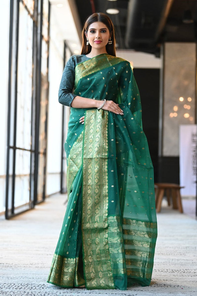 Dark Green Katan Silk Chanderi Saree