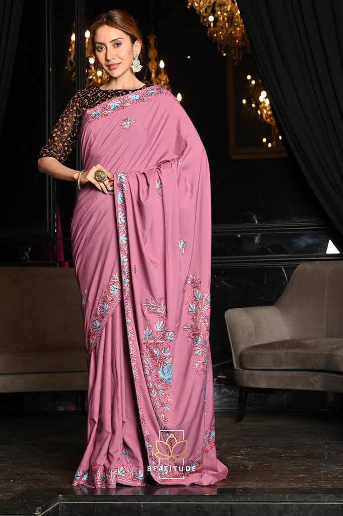 Hand Embroidered Semi Crepe Kashmiri Saree