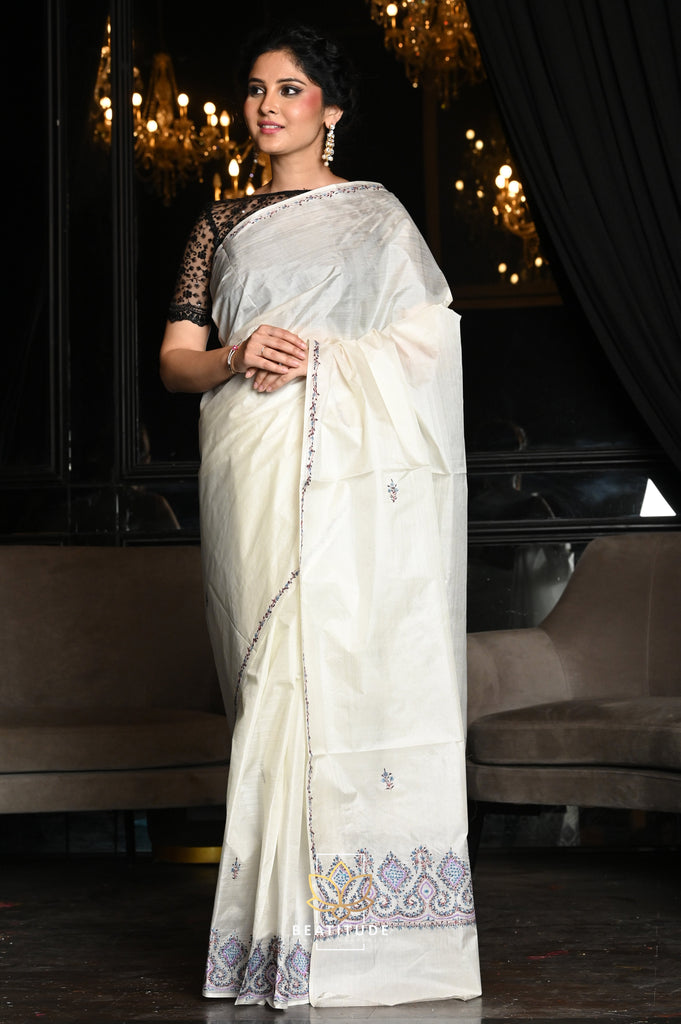 White Shade Hand Crafted Kashmiri Silk Saree