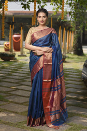 Blue Shade Handwoven Cotton Silk Maheshwari Saree