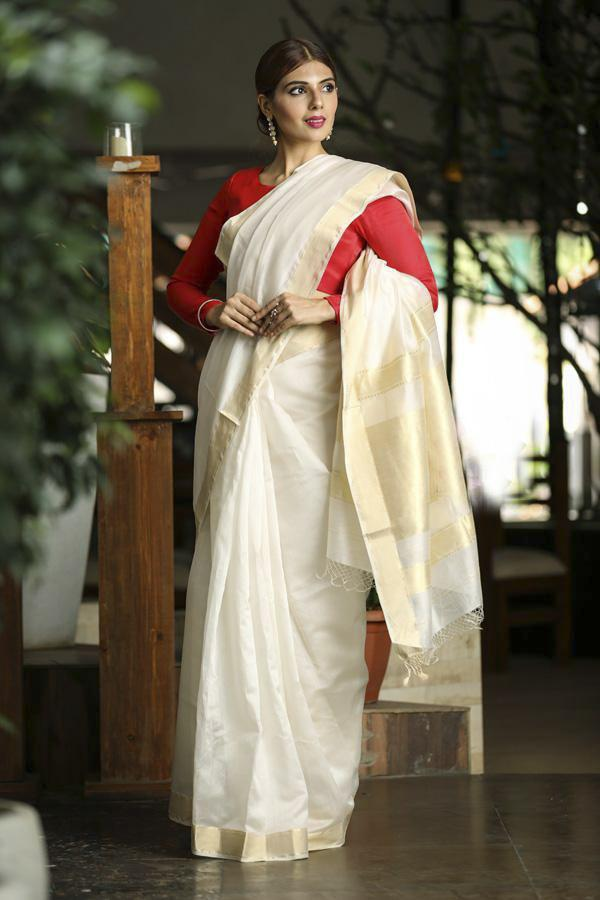 White Shade Handwoven Maheshwari Saree