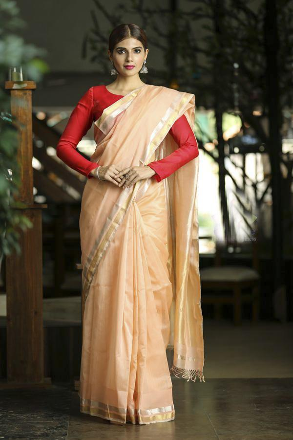 Peach Shade Handwoven Maheshwari Saree