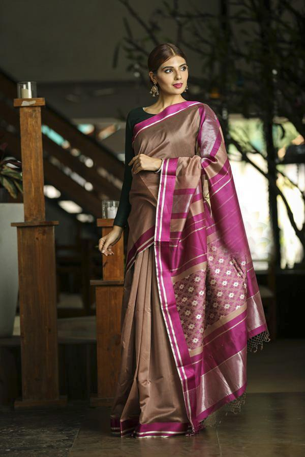 Brown Shade Handwoven Maheshwari Saree