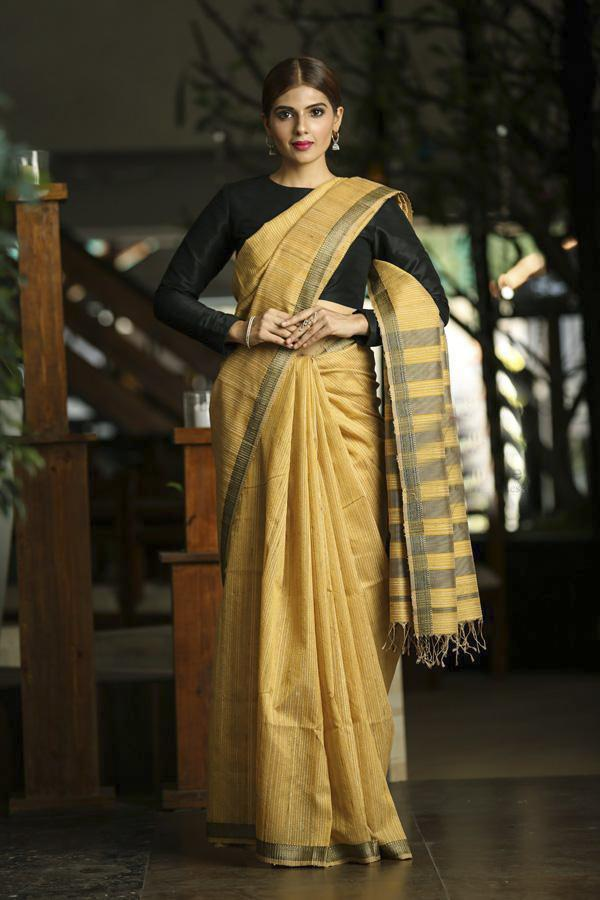 Yellow Shade Handwoven Maheshwari Saree