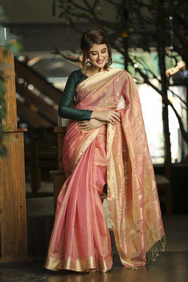 Peach Shade Maheshwari Handwoven Saree