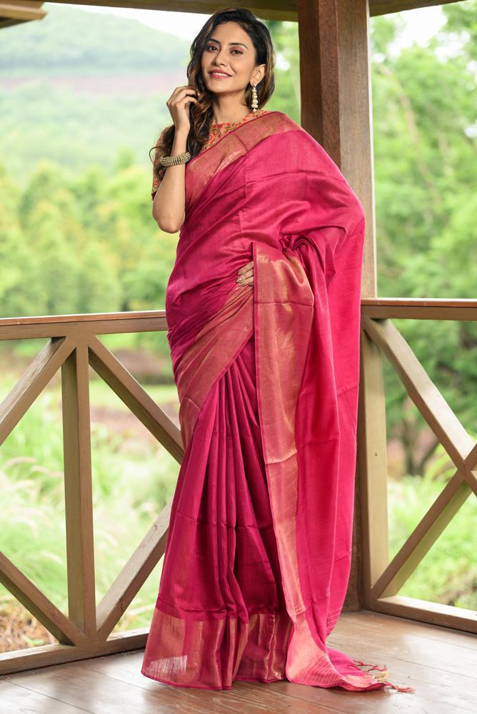 Pink Shade Muga Tussar Silk Saree