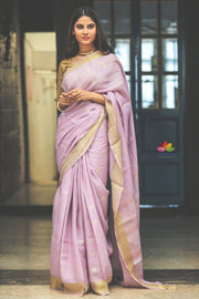Light Shade Lavender Handwoven Linen Saree with Gold Tone Border-Jannat e Firdaus Collection-Beatitude Label