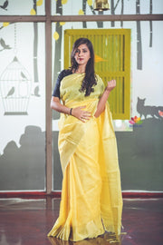 Yellow Handwoven Silk Linen Saree
