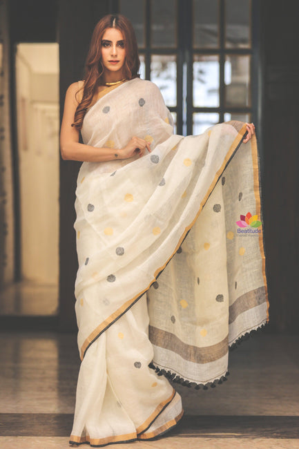 White Handwoven Linen Saree with Golden Border-Jannat e Firdaus Collection-Beatitude Label