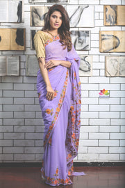 Lavender Hand Embroidered Kashmiri Saree-SALE-Beatitude Label