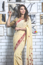 Light Yellow Hand Embroidered Kashmiri Saree-Jannat e Firdaus Collection-Beatitude Label