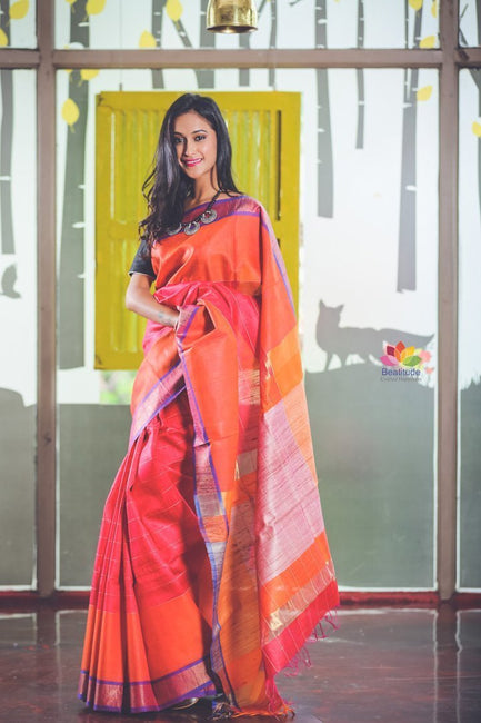 Orange and Pink Handwoven Dupion Raw Silk Saree