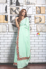 Paled Turquoise Hand Embroidered Kashmiri Saree-Jannat e Firdaus Collection-Beatitude Label