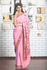 Pink Hand Embroidered Kashmiri Saree-Jannat e Firdaus Collection-Beatitude Label