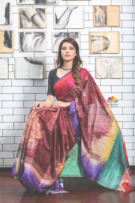 Multicolor Designer Tussar Silk Saree-Jannat e Firdaus Collection-Haate Naate