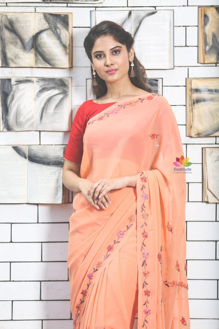 Melon Orange Hand Embroidered Kashmiri Saree-SALE-Beatitude Label