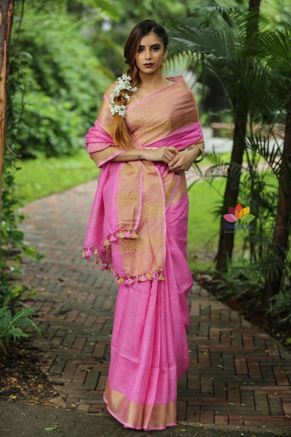 Pink Handwoven Linen Saree with Golden Zari Border
