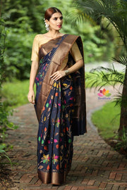 Navy Blue Colored Leaves Cotton Silk Brocade Handwoven Saree