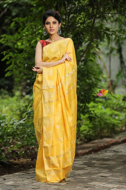Yellow Handwoven Kota Silk Saree