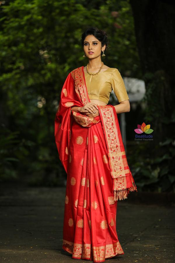 Red Handwoven Kota Silk Saree