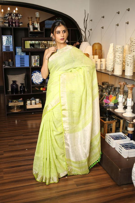 Light Spring Green Handwoven Linen Saree with Silver Border