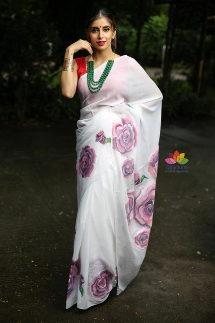 White Handpainted Chiffon Saree
