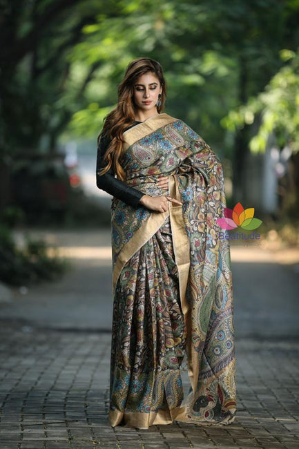 Multicolor Handpainted Kalamkari Vidarbha Tussar Silk Saree