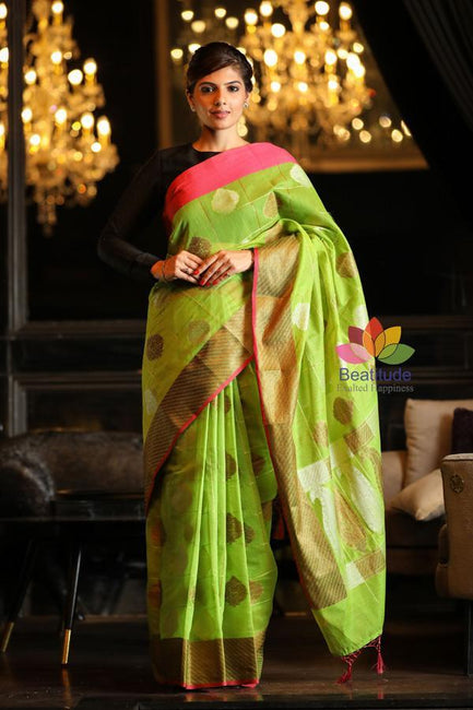 Green Shade Handwoven Maheshwari Cotton Banarasi Saree