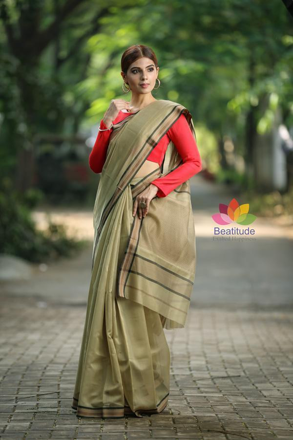 Brown Shade Handwoven Maheshwari Saree-October Collection-Beatitude Label