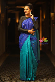 Double Shaded Handwoven Matka Silk Muslin Saree-January Collection-Beatitude Label