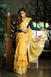 Yellow Shade Embroidered Handwoven Linen Saree with Zari Border