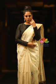 Off White Handwoven Matka Silk Saree